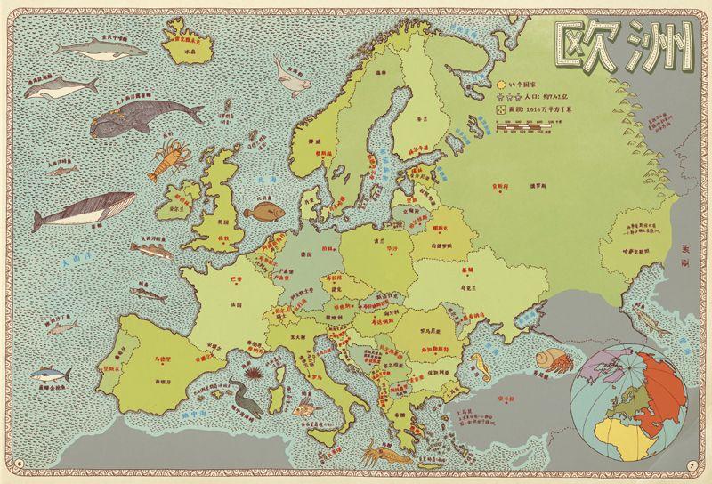 手绘世界地图标明一些重要的国家