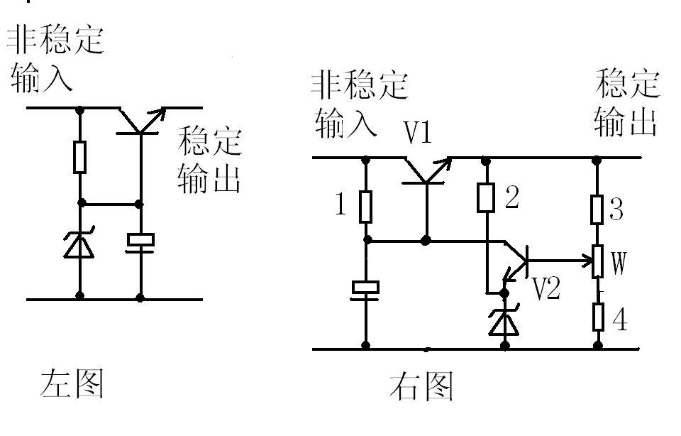 请教一下 三极管的稳压电路以及工作分析,不懂,希望可以入门