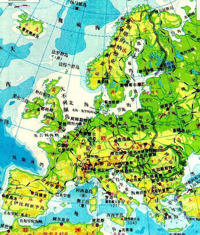 欧洲西部地图图片