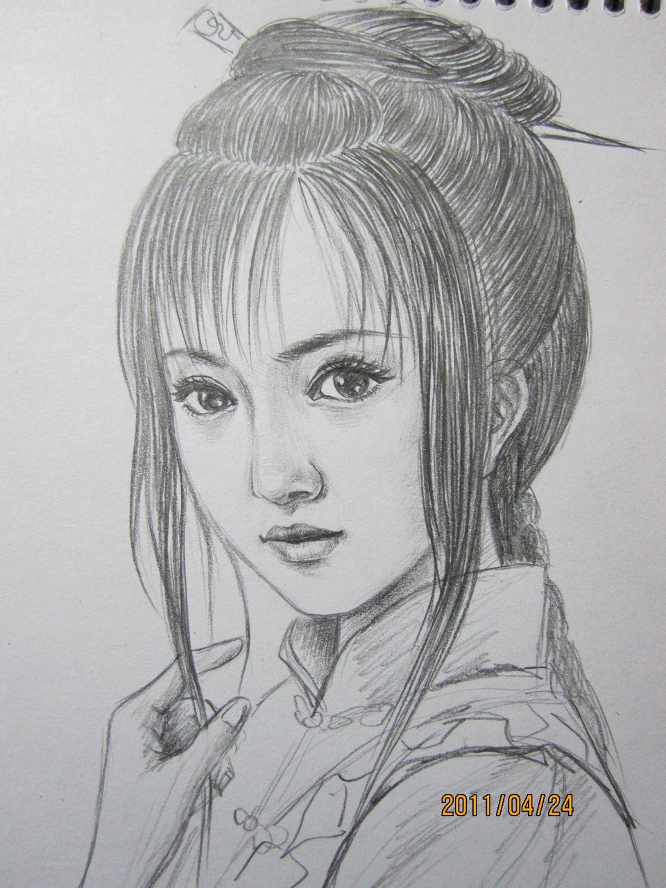 素描古代美女手绘图
