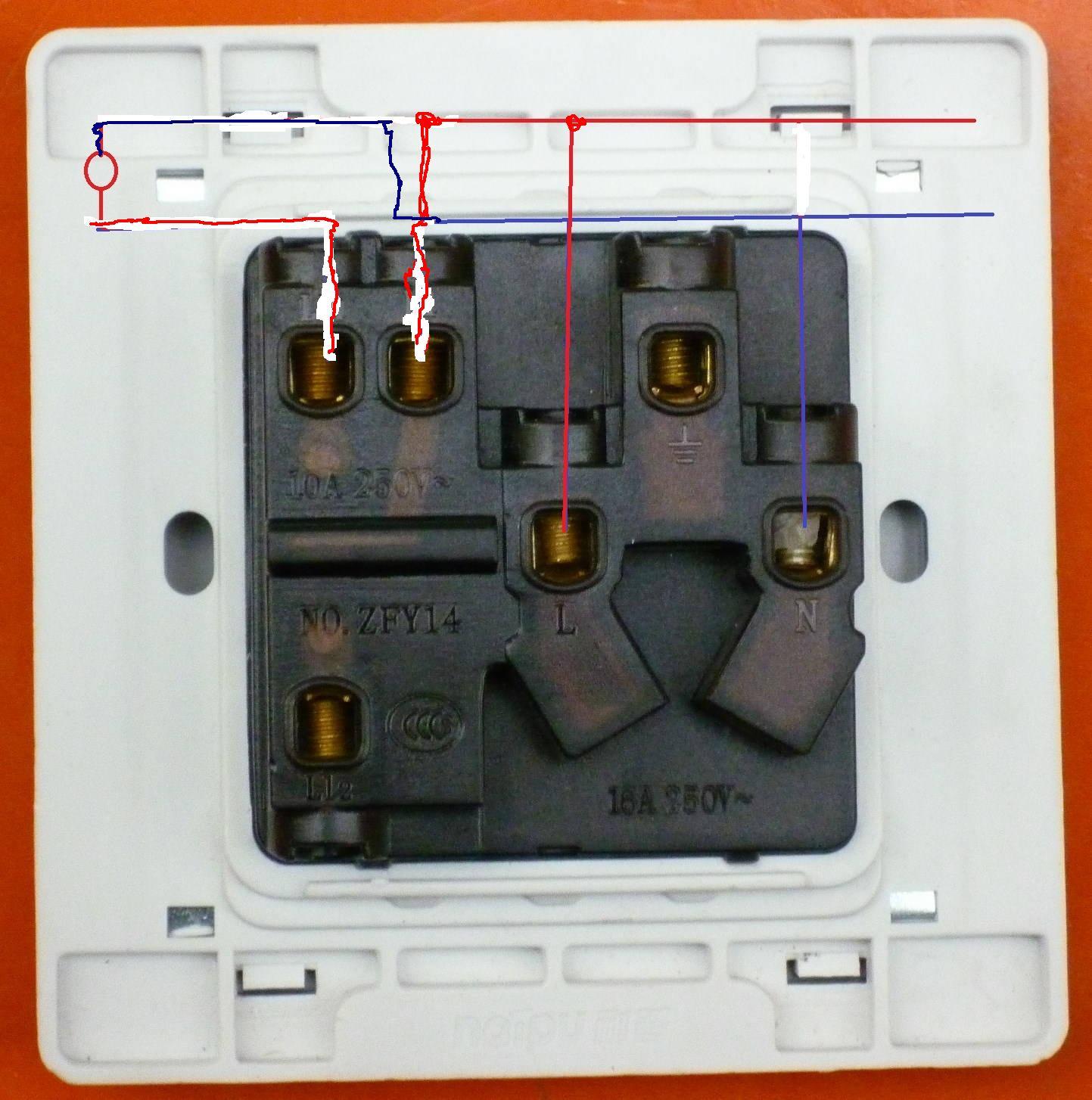 接带控制灯开关并附带插座的那种开关如何接线,附简易图