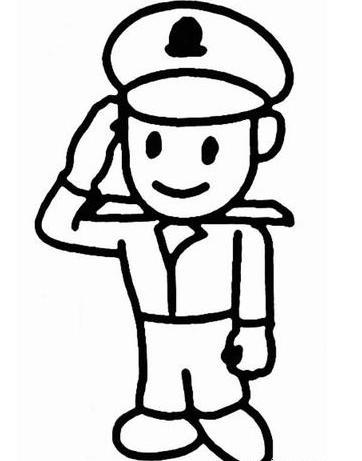 警察人物手绘图