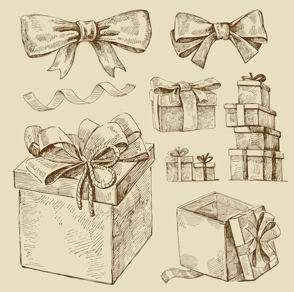 手绘卡通礼物盒