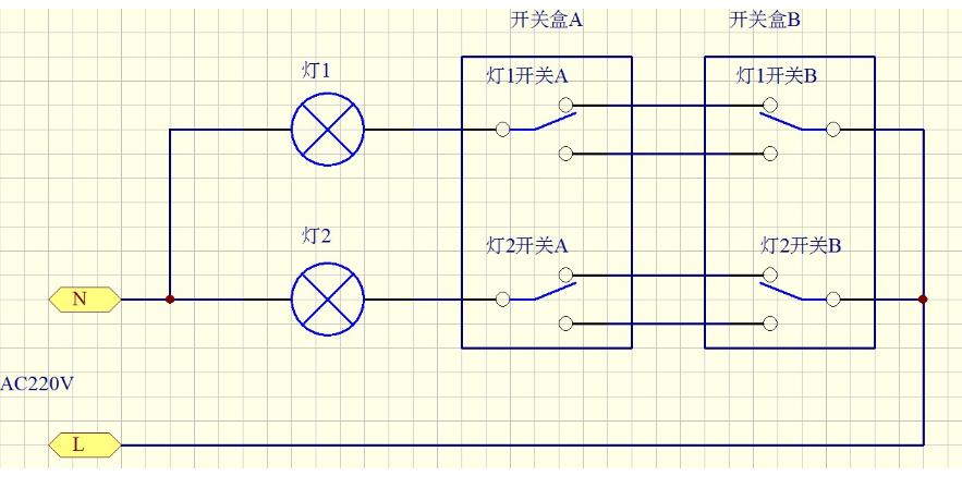 两个双联双控开关怎么控制一个灯?见别个一个盒子里出