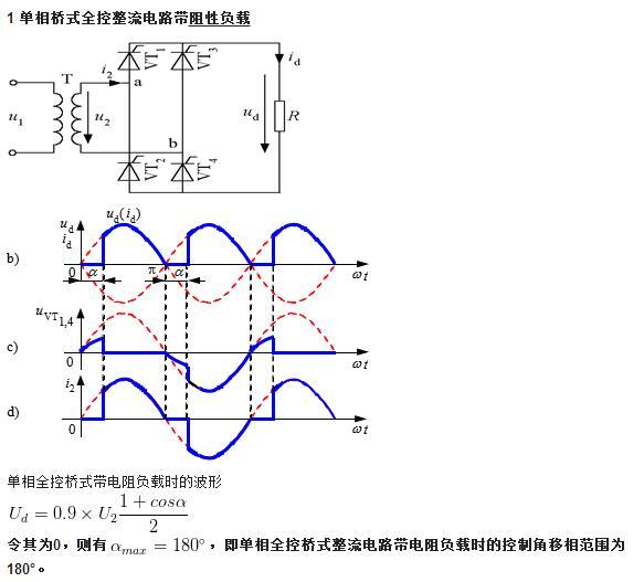下面主要以单相桥式全控整流电路(single phase bridge controlled