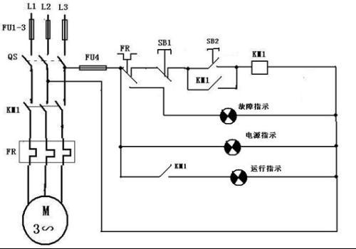 电动机单向运转控制电路的接线图