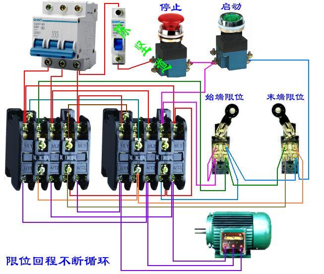 两个j10-10交流接触器两个行程开关一个电机接线图