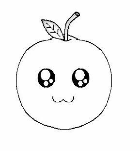 卡通子橙简笔画可爱型有表情