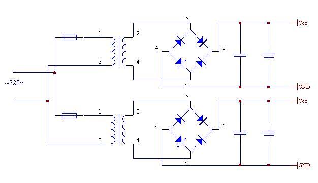 大功率功放为什么要用双变压器求电源整流电路图
