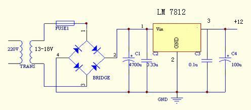 把220v的交流电转化为输出电压为12v,电流为1a的直流稳压电源电路图