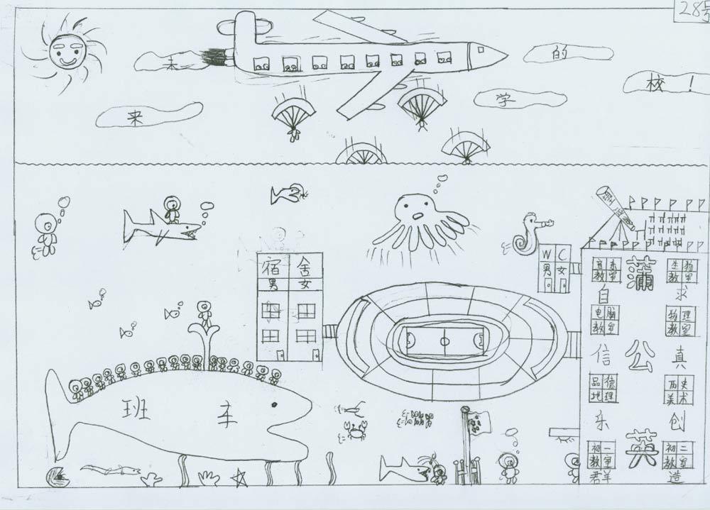 求未来的学校手绘图片