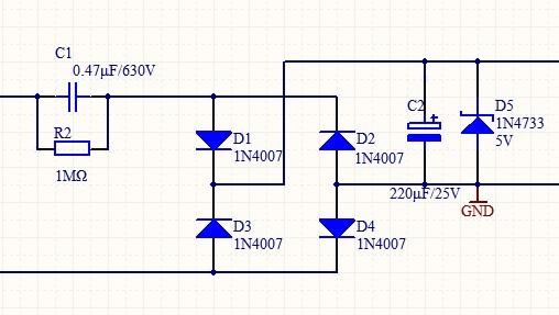 大哥,把那个阻容降压,220v转5v的电路图给我发一份呗