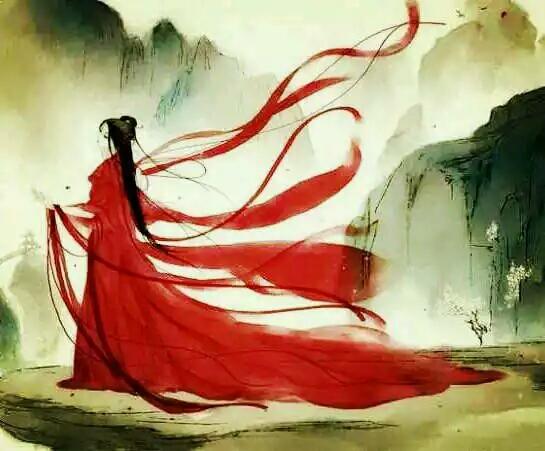 我想求一些漂亮的古风图片.红衣女子,凄惨,白发,持剑
