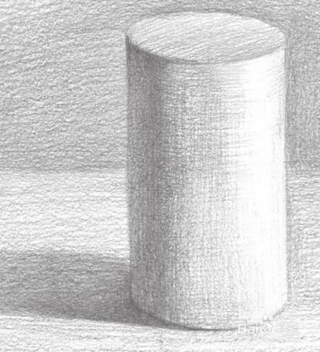 完成的圆柱体素描画