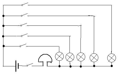 电路由一个电池组供电,共用一个电铃,所画电路中的床位至少要有五个.