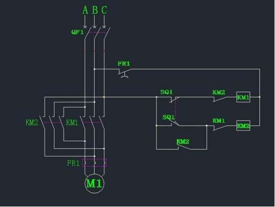 怎么使用1个行程开关,2个接触器,控制电机自动正反转?