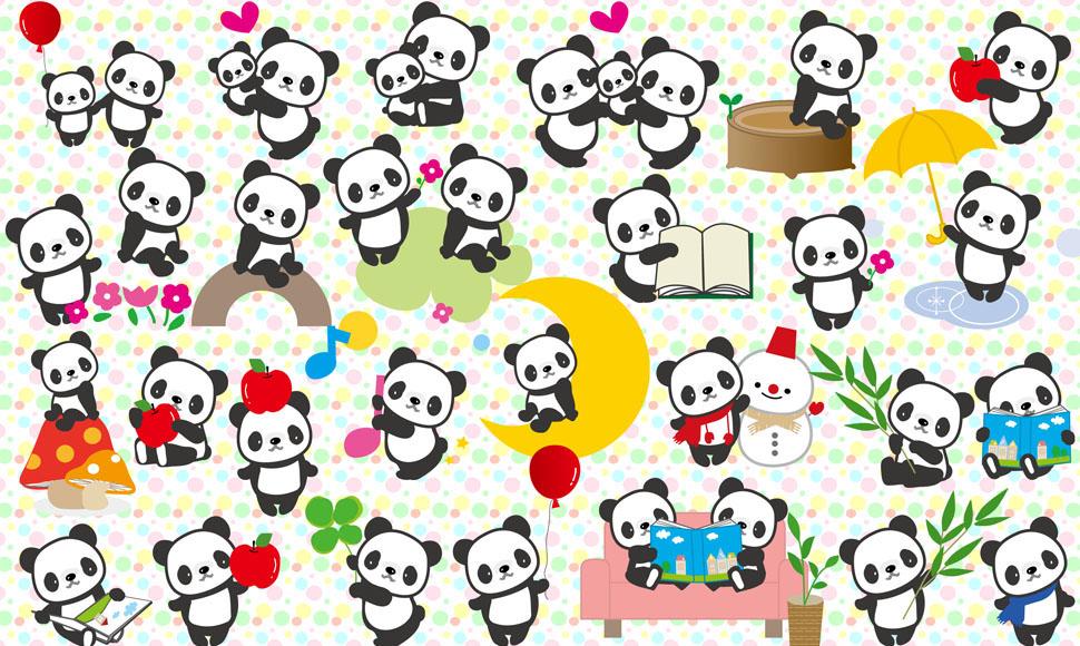 谁有多种可爱姿态的卡通小熊猫psd分层,psd源文件