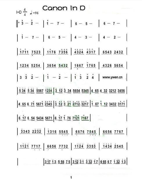 最简单的卡农电子琴简谱