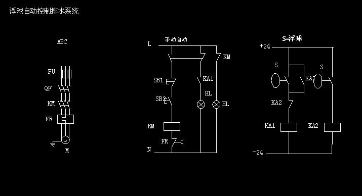 浮球水泵控制电路图(现有220v继电器1个 24v继电器 按钮一个,开关电源