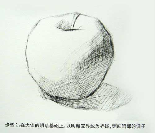 苹果素描阴影怎么画图片