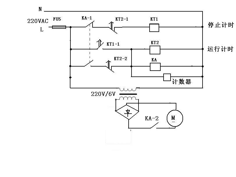 用一个时间继电器和一个计数器控制一个直流电动机如何接线