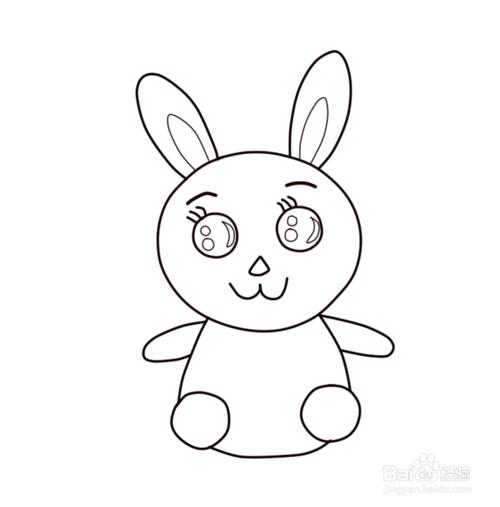 再画出兔子短小可爱的四肢.