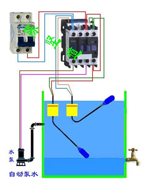 三相电机用交流接触器带浮球怎么接线