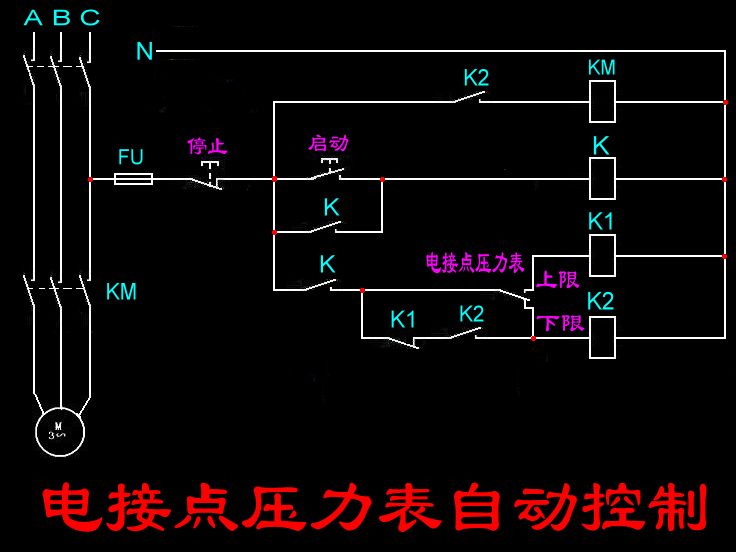 需要再加几个中间继电器来实现. 报警电路,热继电器等可以自己加上.