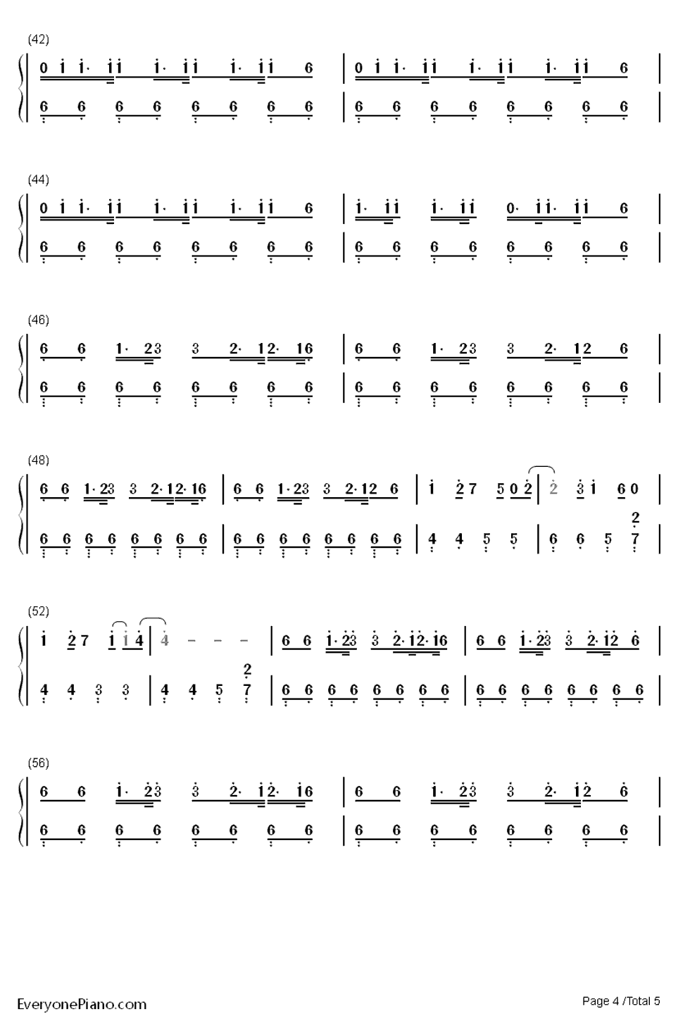 咆哮钢琴谱简谱数字
