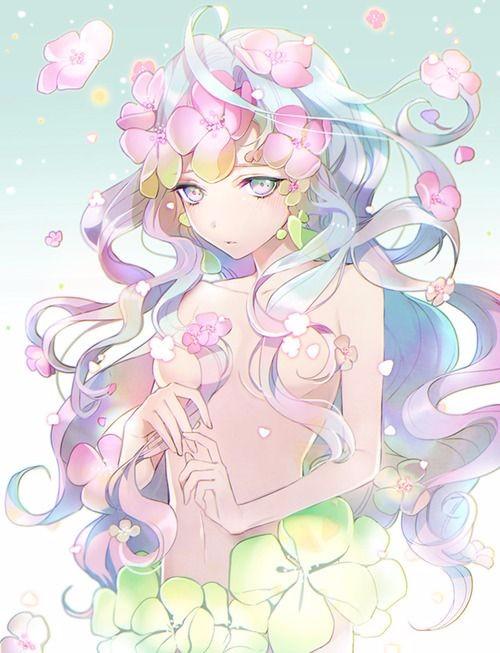 求类似光身动漫女孩用花遮身的图片