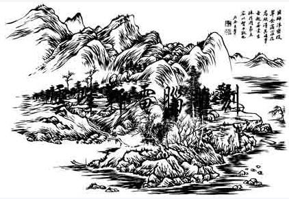 关于山河的素描画(简单的)亚克力珠编织图片