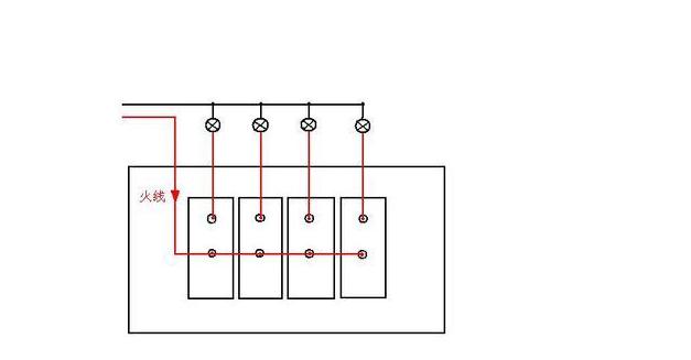 1,开关接线端子标有l1,l2,l3 ,l4的孔是公共端,接火线,接线端子标有