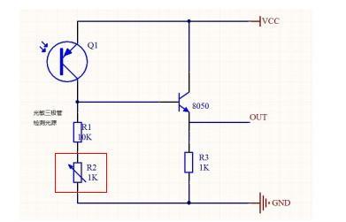 此光敏三极管电路中电位器作用