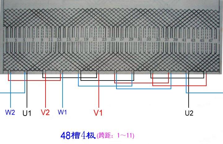 一台三相48槽4极电机线圈绕组怎么连接