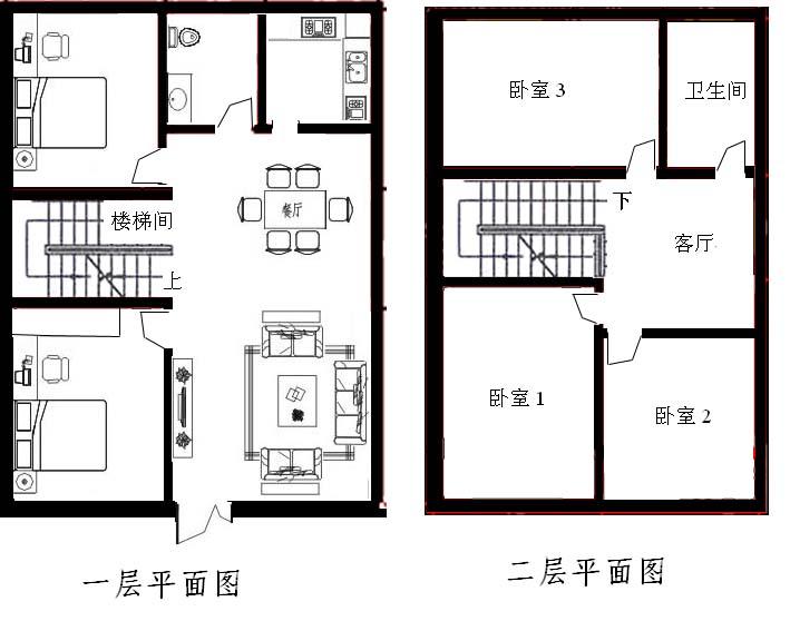 拜求农村2层小楼的平面设计图最好是南北通门的哪种