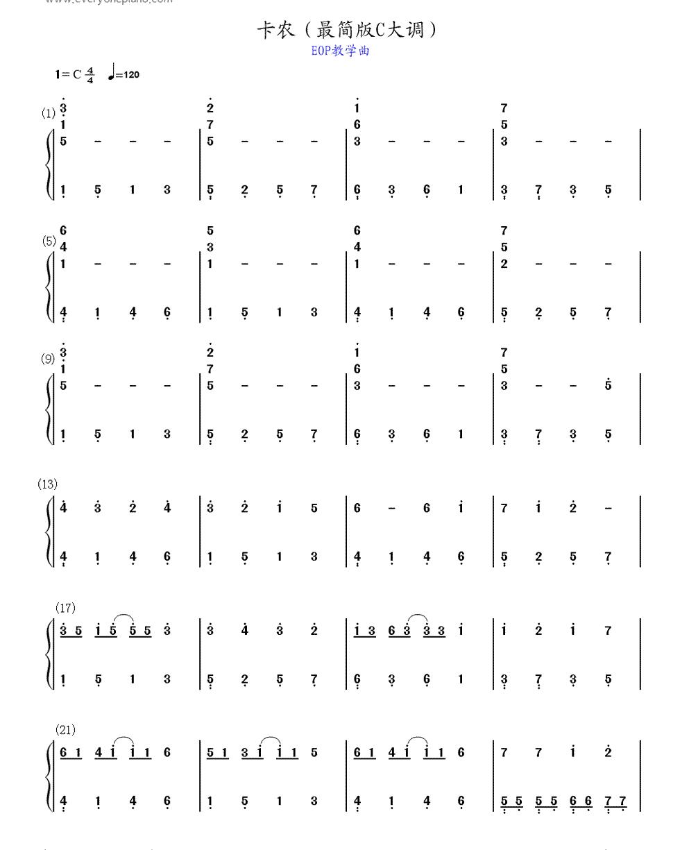 卡农c大调钢琴简谱,左右手都要,最简单,这两天考试急需