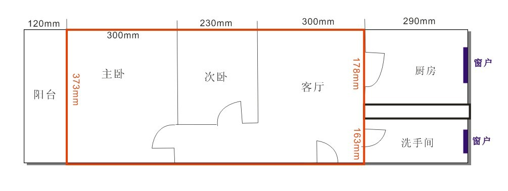 两室一厅的尺寸是:长8米半,宽3米57,在这个空间设计两室一厅,如何布局图片