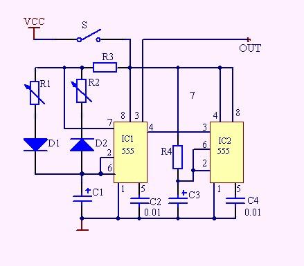 想做一个自动控制电路按下开关开20秒后停5秒循环工作