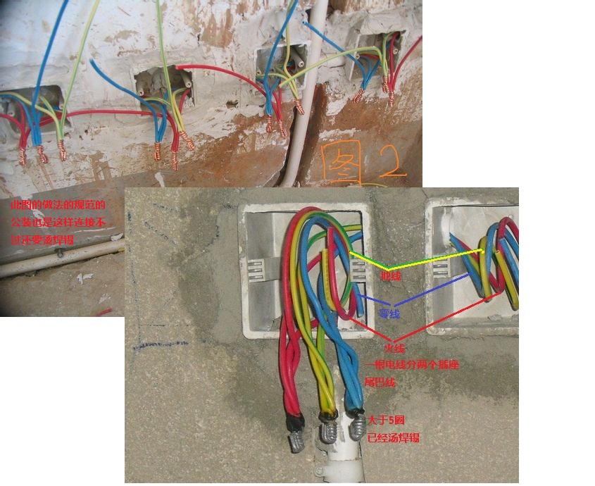 展开全部   图2是规范的做法,绝对不能两根线同时压接在插座接线柱