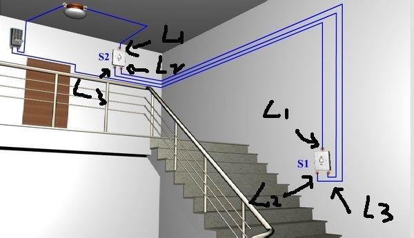 楼梯两盏灯双控接线图