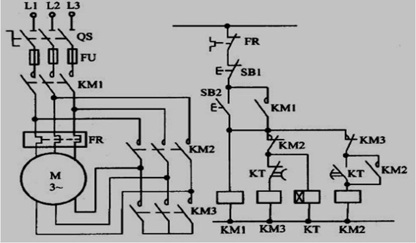 谁知道中间时间继电器延时转换的星三角降压起动控制电路图啊!
