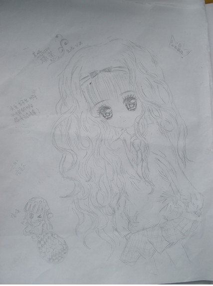 可爱卡通人物简笔画 头发随风飘动 女孩 眼睛大 长头发