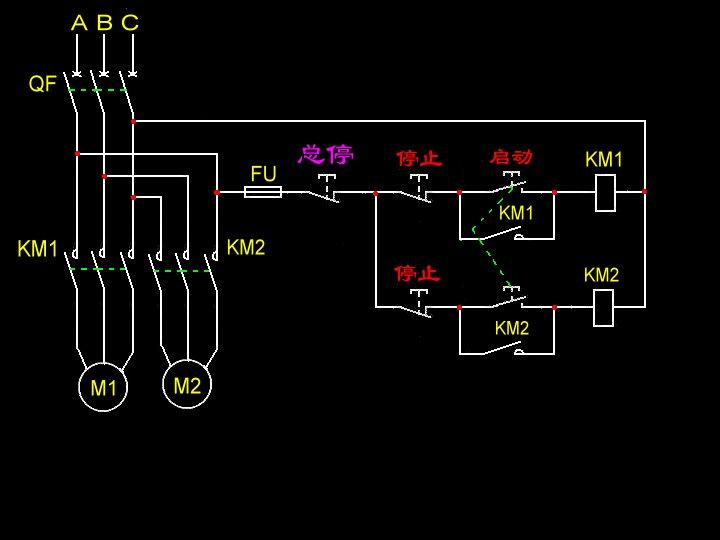 两台电动机利用按钮同时启动,分别停止的电路图
