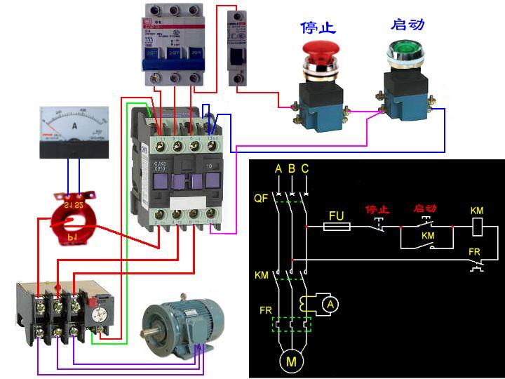 在电路图中有电流表,电流互感器,接触器,热继电器来带动电动机该怎么
