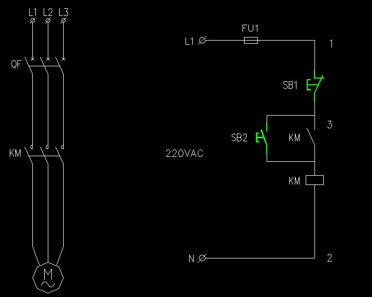 控制一个电机安装按钮开关和交流接触器接线图不用继电器怎么接