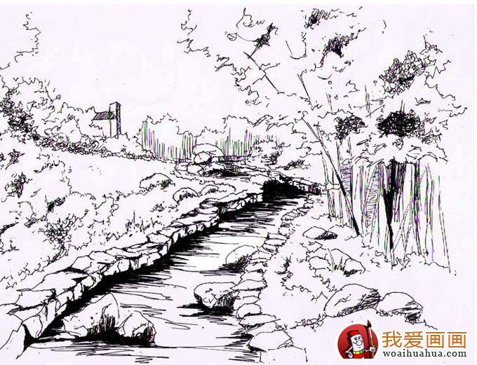 苏州园林风景手绘
