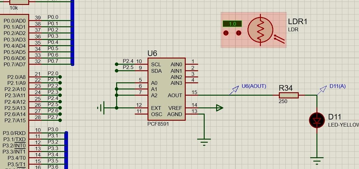 proteus仿真(at89c51)中用pcf8591采集光敏电阻的光照强度,电路图应该