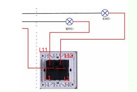 双开单控开关背板如何接线?
