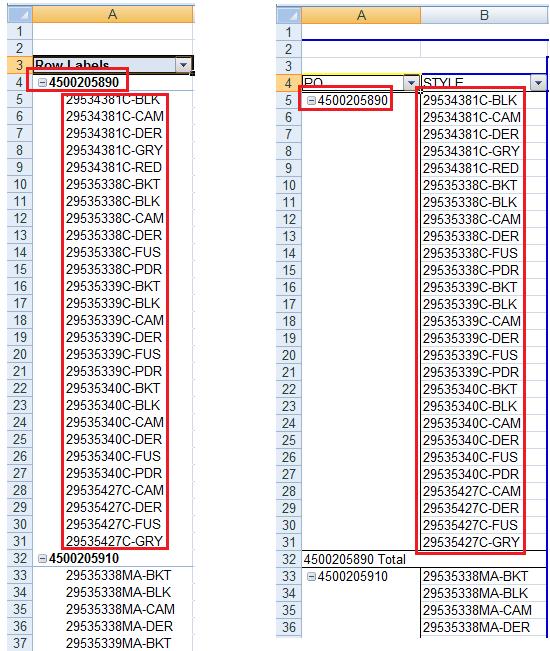 excel 2007 数据透视表的不同格式