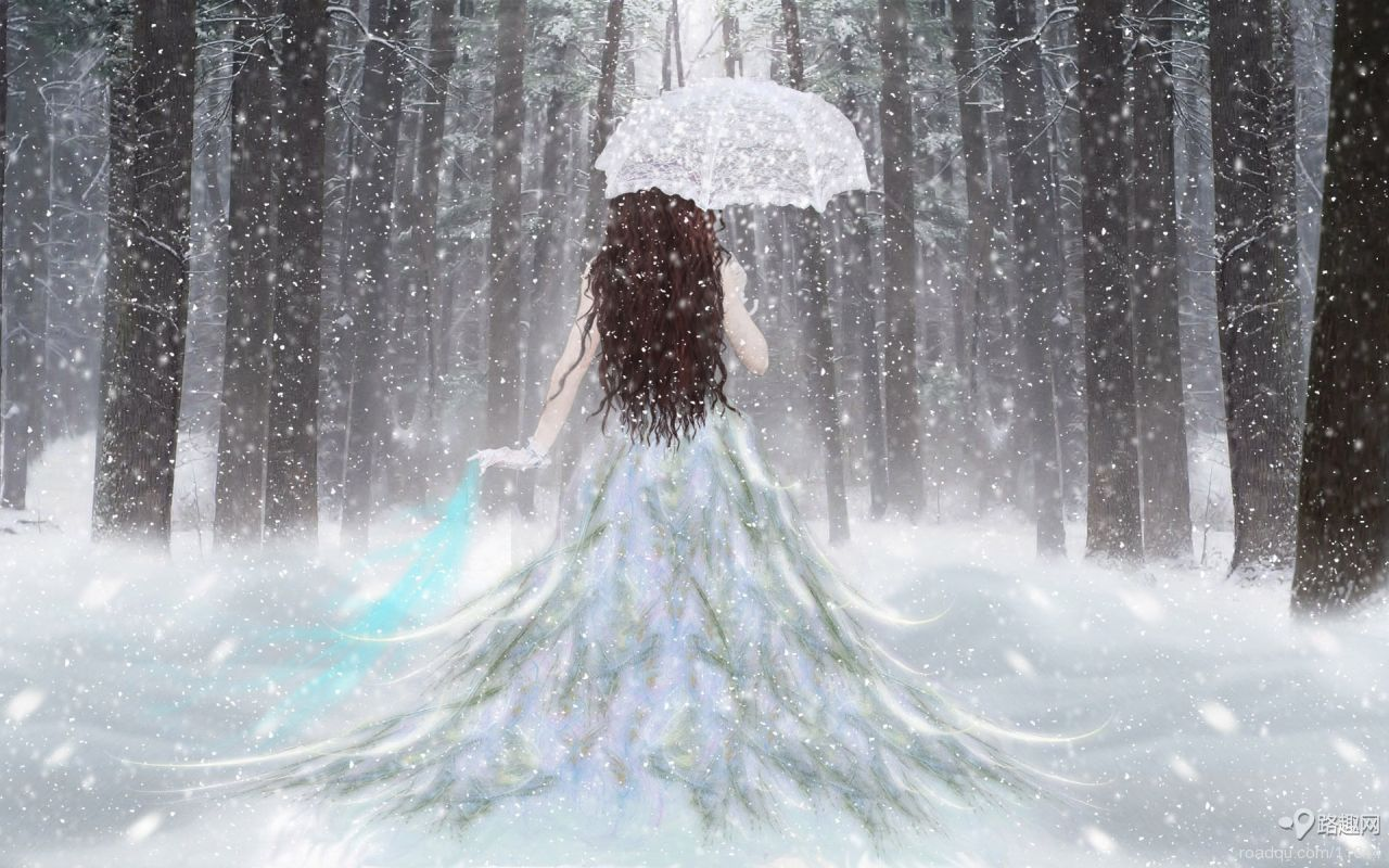 和一张穿着白色婚纱的拿着雨伞的女孩的背影配的个性签名和qq网名
